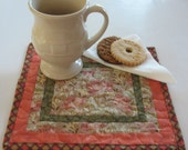 Quilted Floral Mug Rug or Personal Placemat Set of 2 Pieces