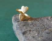 Two Heart Wrap-Around Adjustable Ring, Customized & Hand Engraved with Initials of your Choice for Free