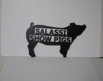 Pig 024 Metal Wall Yard Art with Name Silhouette