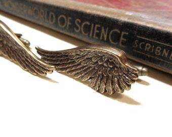 Long Wing Cufflinks - Steampunk Angel Wings - Antiqued Brass / Gold Ox Cuff Links - Soldered