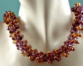 Purple and Honey Drop Kumihimo Necklace with Vermeil Cones and Magnetic Clasp
