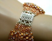 Scalloped Miyuki Ginger Sparkle Triangle Seed Bead Peyote Bracelet With Box Clasp
