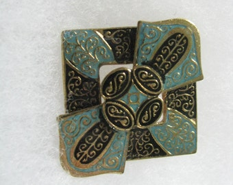 Fab vintage blue black gold layered damascene look brooch pin