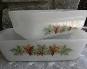 Farmhouse chic Vintage kitchenware Anchor Hocking Fire King Maple Leaf Refrigerator dishes Green and Brown Leaves