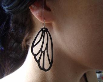Fairy Wing Earrings - Wood Earrings-Wing Earrings-Matte Black-Butterfly Wing-Laser Cut Wood - Filigree-Lightweight Jewelry - Fantasy Jewelry
