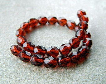 Maroon Red 6mm Glass Round Beads, Czech Glass Beads, Fire Polished Faceted Beads (30pcs) NEW