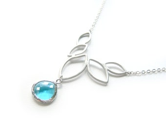 Sea Blue Necklace On Marquis Rhodium Plated Setting - Contemporary Necklace