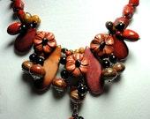 Red Jasper Floral Gemstone Bouquet Bib Collar Statement Necklace with Sterling