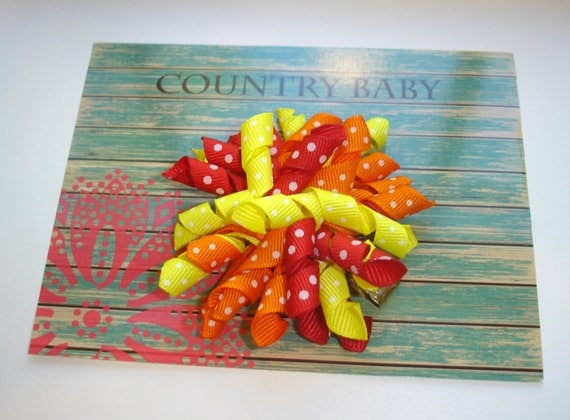 Deal of the Day Corker Bow... Hair Clip Thanksgiving Colors...Corker Bows...Hair Clips...Thanksgiving...Girls Hair Clips