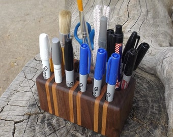Solid Wood Make Up Brush Holder - Premium Quality - Handmade - Laminated Walnut & Cherry Wood - Cosmetics Caddie Pencil Holder Etc.