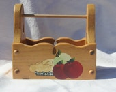 Apple tote, wooden tote box, wooden caddy, apple painting, red and green apples, acrylic painting, hand painted, storage container, wood bin