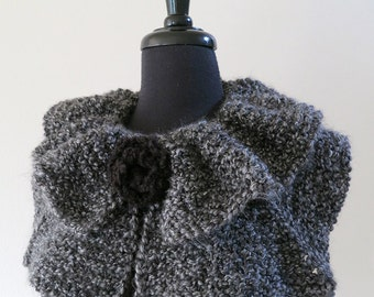 FREE US SHIPPING - Charcoal Dark Gray Color Knitted Statement Capelet Ruffled Collar Cowl with Knitted Black Brooch