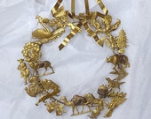 VINTAGE  BRASS WREATH . . . Dresden, Petite Choses, Year-Round Wreath, 24 Antique Chocolate and Paper Embossing Molds