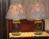 Blue Jar Lamp Quilt Shade Antique Rustic Lighting DIY U Fill NEW Electric Farmhouse Decor Primitive Blue White Quilt Mason Jar Change Season