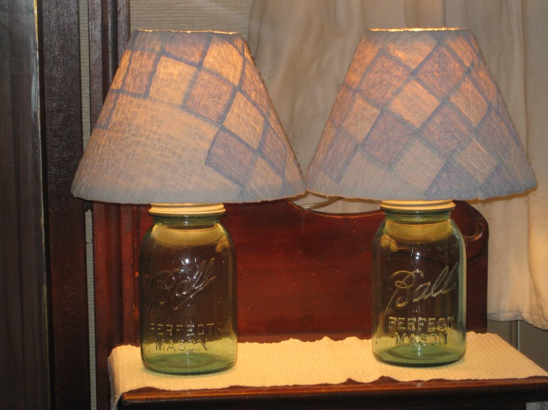 blue ball mason jar lamp handmade quilt shade antique rustic. Black Bedroom Furniture Sets. Home Design Ideas