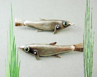 Rocket Fish Earrings with Green Onyx Eyes