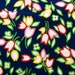 Tulips!  Fabric Bright pink,yellow, red tulips on dark blue Medium Cotton Duck Fabric Selling by 1/2 Yard