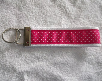 Pink with White Dots Wristlet Key Chain Key Fob