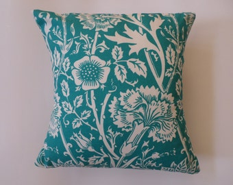 Jacobean Floral Square Pillow Cover Turquoise and White