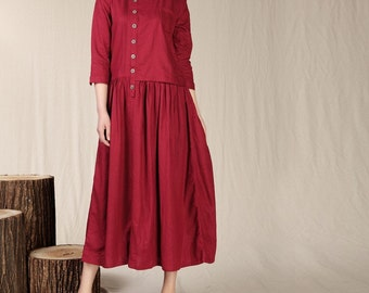 Spring dress Loose fitting Long Sleeve Sundress Maxi Dresss in Rose Red(more colour and size choice)-NS14