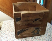 Old Primitive Wood Box, Crate, Washington Apple Orchard, Rustic Heavy Duty Box with Partial Paper Label