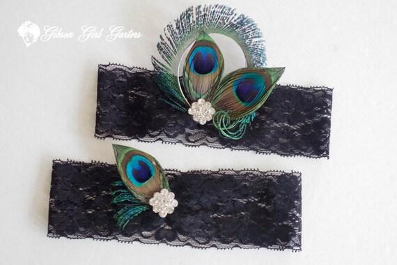 Black Wedding Garter Set Peacock Garters Black Lace Bridal