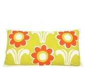 Daisy Deco 10x20in Lumbar Pillow in Mello Yello + Mango Orange