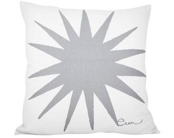 Starburst 20in Pillow in Rainy Day Gray