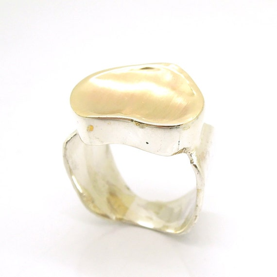 Brushed gold silver ring wide and wavy design