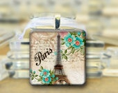 Eiffel Tower Pendant, Necklace Blue Flowers Paris #410
