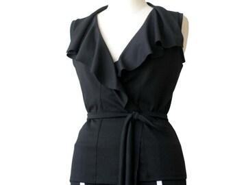 Plus size clothing, Wrap vest, Ruffled vest, Sleeveless jacket, Black jacket, Black vest with ruffles, XL, XXL, 3XL sleeveless jacket vest