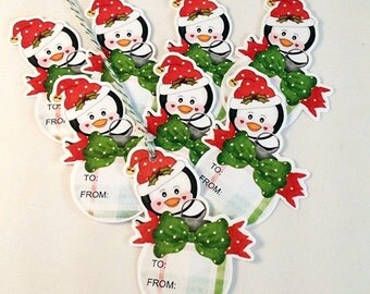 Penguin Christmas Gift Tags-Set of 8