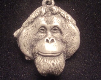 Orangutan Pendant Necklace cold cast pewter