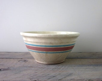 Vintage Pottery Mixing Bowl with Pink and Blue Stripes