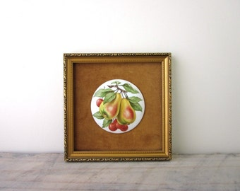 Pear Fruit Wall Hanging with Gold Felt and Gold Wood Frame