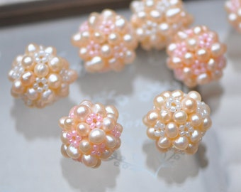 Freshwater Pearl Ball 22mm Large, Peach Pearl Beaded Cluster -(PL10)/ 4pcs