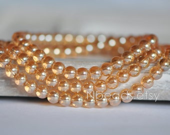 Glass Smooth Round beads 6mm, Sparkly Crystal beads, Sparkly Gold Champagne (GM010-5)/ 100pcs