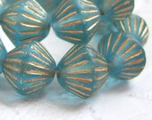 Czech aqua 11mm bicone  bead with gold accents, lot of (15) beads - GH200