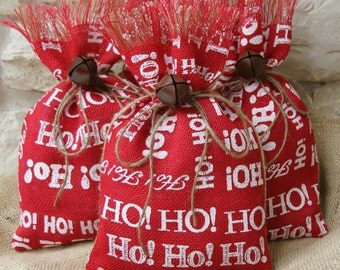 Burlap Gift Bags, Shabby Chic Christmas Wrapping, Red, White and Natural, Ho Ho Ho, Jingle Bell Tie On, Set of Four