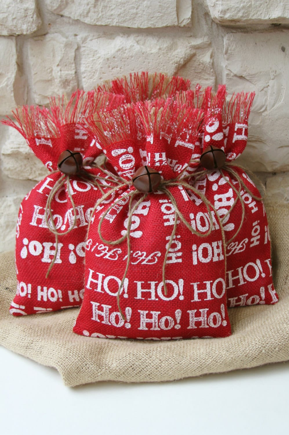 Burlap Gift Bags Shabby Chic Christmas Wrapping Red White