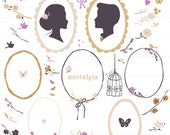 Nostalgia Clipart Wedding Wreath Flowers Peonies Roses Silhouettes Birds Butterflies Golden Radiant Orchid for personal and commercial use