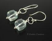 Green Amethyst Earrings, Prasiolite, Sterling Silver, Cube Gemstone, Mint Green Dangle, February Birthstone