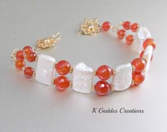 Gold Carnelian Bracelet, Freshwater Pearl, Double Strand, Gold Pearl Bracelet, Burnt Orange Gemstone Beaded Bracelet SALE