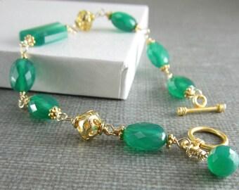 SALE! Green Onyx Bracelet, Emerald Green Gemstone, Asymmetrical, Chunky Onyx Bracelet, Gold Green Onyx Bracelet Wire Wrapped Emerald Green