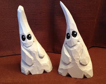 Custom Carved Ghostly Duo Wood Carvings Art Sculpture Handmade Halloween Decor