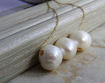 White Pearl Wedding White Necklace Trapeze Swing necklace beaded necklace Gold Filled Necklace Bridesmaid