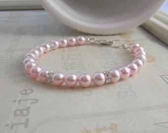 Pearl Wedding Bracelet Pink White or Cream/Ivory Bridal Bracelet with Swarovski crystals and pearls Bride Bridesmaid Wedding Jewelry
