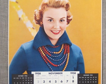 Calendar , Pin-up Calendar , Antique 1958 November , Female Portrait , Pin-up Girl , Loose Art , Paper , Photography , Poster , Woman