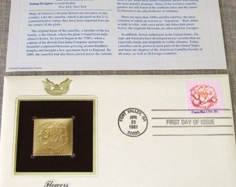 First Day Issue , Stamp , Flower , Camellia , Gold Stamp , Commemorative Stamp , Postage Stamp , Collectibles , US Stamps , Postal Stamps