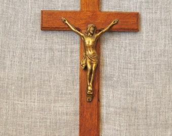 Crucifix , Cross , Religious Art , Religious , Religion , Jesus , Wood and Metal , Wooden Crucifix , Altar , Wooden Cross , Wall Decor